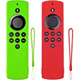 Remote Cover Replacement for TV Stick Lite Silicone Skin Case Anti-Slip Shockproof Sleeve 2-Pack (Glow Green and Red) with La