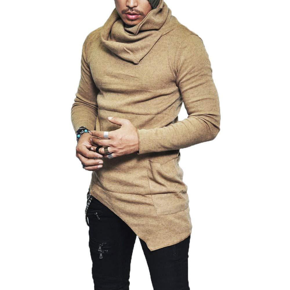 kingf Men's Knit Turtleneck Sweater Slim Fit Long Sleeve Muscle Tee Shirt Tops kingfansion Men Top