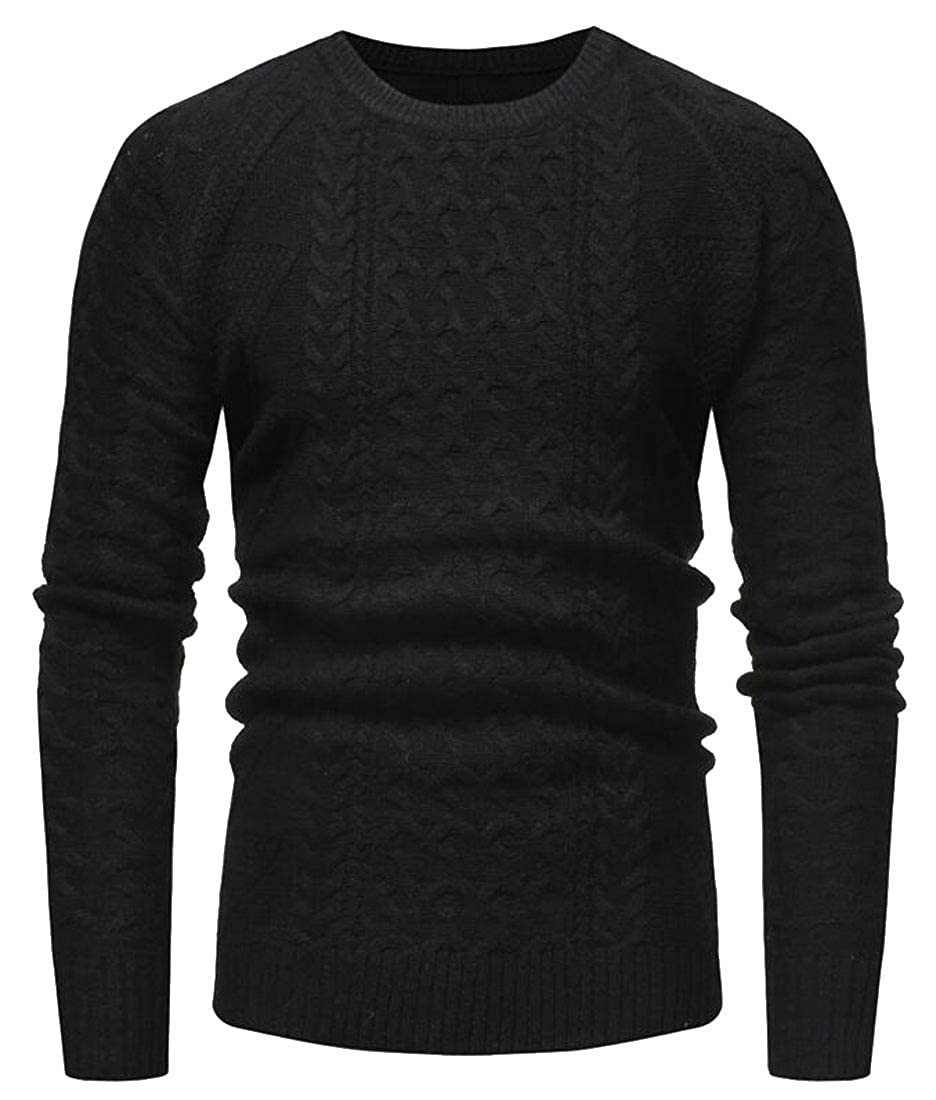 WSPLYSPJY Mens Pullover Long-Sleeved Cable Casual Knitted Round Neck Sweater Tops