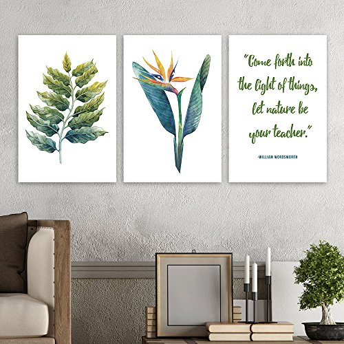 3 Panel Tropical Plant Leaves and Inspirational Quotes Gallery x 3 Panels