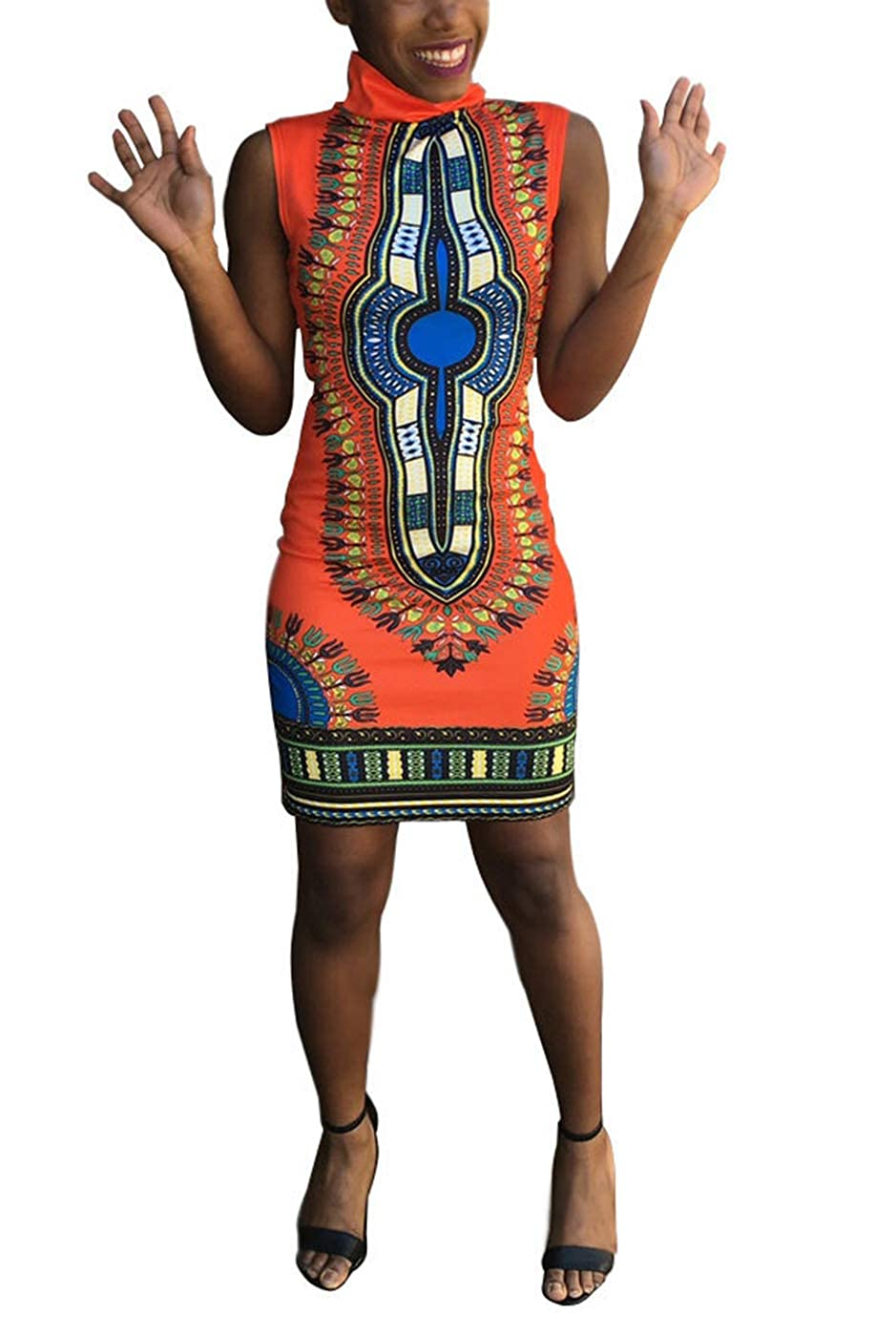 08c8a0d8d QOCAOFIG Women African Print Dashiki Midi Dress, Sleeveless High Collar  Bodycon Slim Sheath Evening Cocktail Pencil Dress at Amazon Women's  Clothing store: