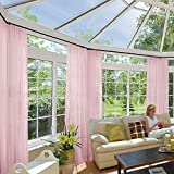 Macochico 100Wx 102L Pink Outdoor Indoor Extra Wide Light Sheer Curtains Panels Privacy Protection dustproof Bedroom Living Room Patio Garden Gazebo Cabana Backyard (1 Panel)