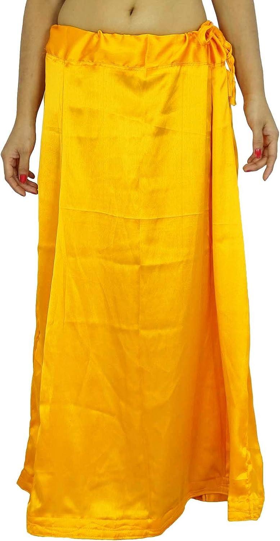 per Sari Sottogonna in raso di seta stile Bollywood indiano