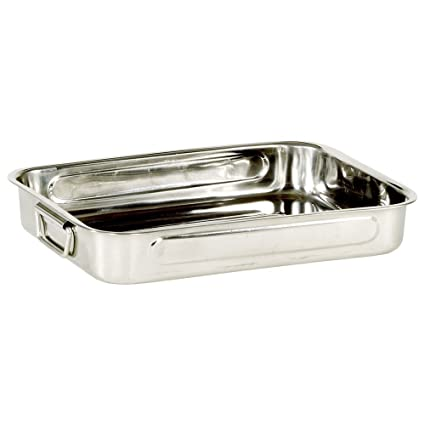 My Basics Oven Baking Pan Roasting with Drop Handles Stainless Steel 12 Inches