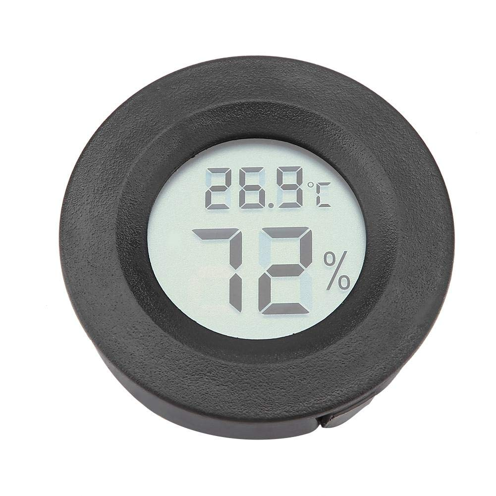 Zerodis Mini Digital LCD Thermometer Hygrometer Pet Electronic Humidity Temperature Meter Thermo-Hygrometer for Incubators Indoor Reptile Breeding Box Weather Station Greenhouse Basement Round Black