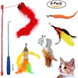 PupMoe Cat Wand, Retractable Feather Teaser Toys 2 Cat Wands& 4 Assorted Interactive Replacement with Bell Refills and Catnip Inside for Cat, Kitten