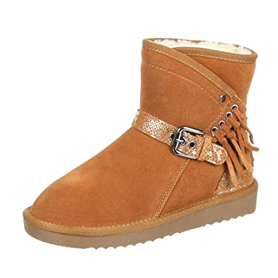 Damen Schuhe Stiefeletten Warm Gefütterte Boots Camel 41 tGOvx