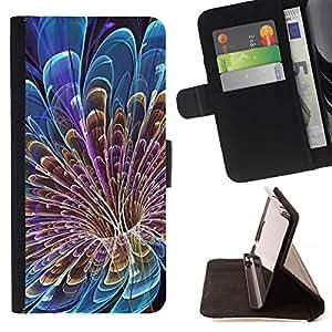 Momo Phone Case / Flip Funda de Cuero Case Cover - Floral Pétalo Vortex Misterioso Azul - Samsung Galaxy E5 E500