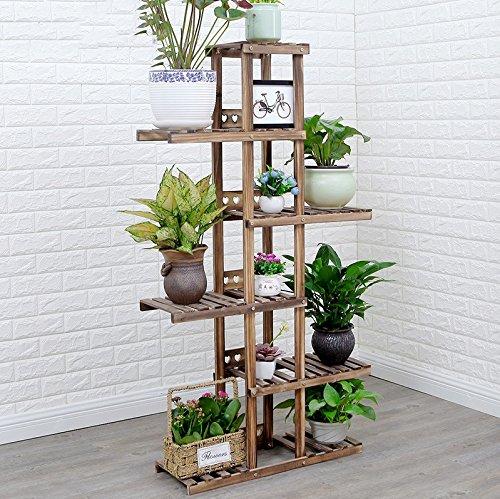 Black (six) Flower rack solid wood multi - storey floor pots ( color   Black (five layers) )