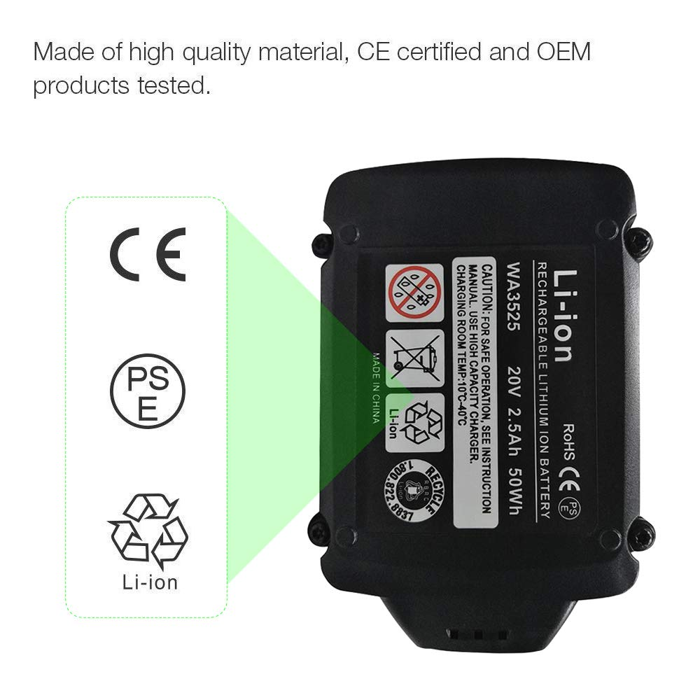 2Packs 2.5Ah WA3525 Replace for Worx 20V Battery WG151s WG155s WG251s WG255s WG540s WG545s WG890 WG891 by Munikind (Image #5)