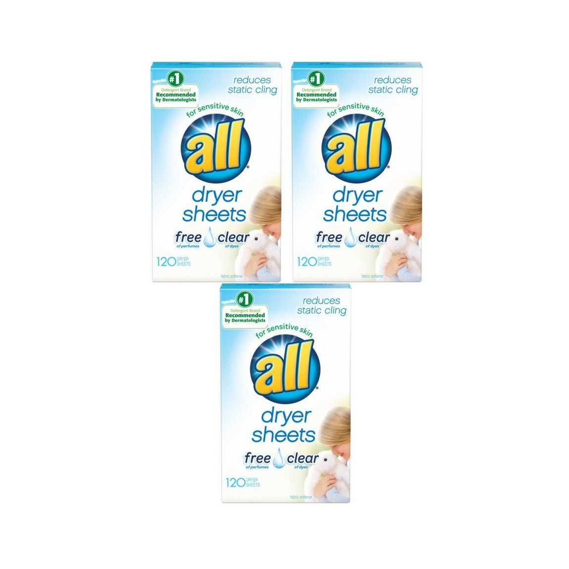 all Fabric Softener Dryer Sheets for Sensitive Skin, Free Clear, 120 Count - 3 Packs