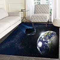 Galaxy Floor Mat Pattern Attack of the Asteroid Rocky Dark Body Comet on Planet Earth Meteor Shower Print Living Dinning Room & Bedroom Rugs 5x6 Dark Blue Grey