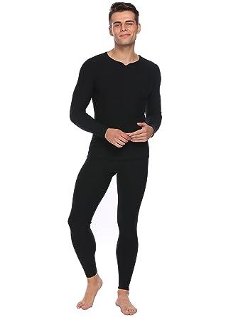 Skylin Men s Slim Pajama Solid Set Loungewear Winter Warm Sleepwear (Black 69278de05