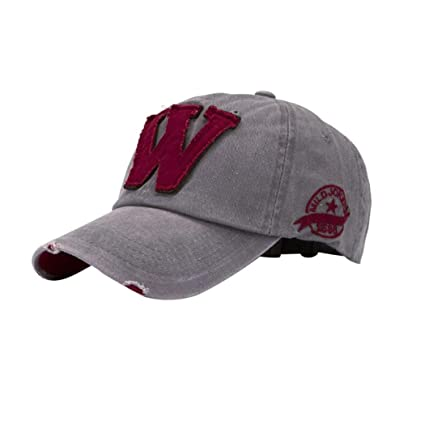 QuickZ SnapBack sombreros Unisex verano letra W Hockey béisbol Gorras Hip  Hop gorros (gris) 536a8bf0dff