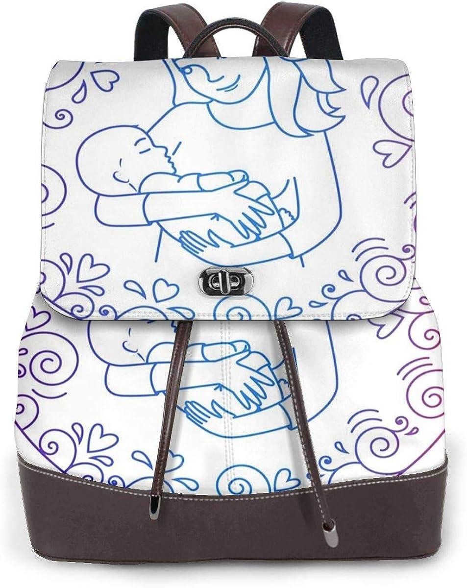 SGSKJ Mochila de Cuero Mujer Bolso Amor maternal Madre Holding Estudiante Casual Bolsa La Universidad Bolsa de Viaje de Cuero Mochila Mujer