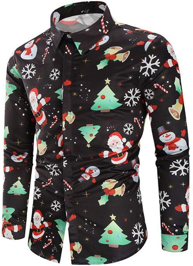 BaZhaHei-Navidad Hombres Casual Copos de Nieve Papá Noel Estampado Camisa de Navidad Top Blusa Camiseta de Papá Noel Estampada para Hombre Santa Candy Printed Christmas Shirt Top Blouse para Hombre: Amazon.es: Ropa
