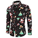 Men Christmas Shirt,Vanvler Male Snowflakes Santa