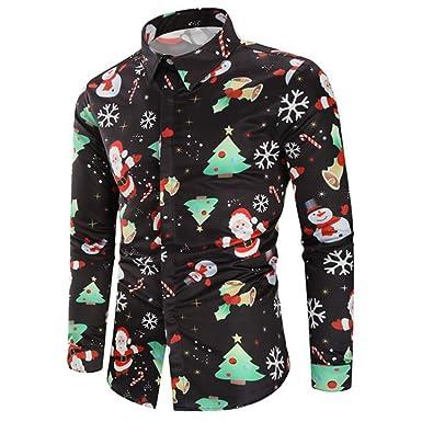 b9a1b06d274 Anglewolf Long Sleeve Christmas Fun Gift Shirts Santa Print Snowman Party  Printed Designs Men s Shirt Button