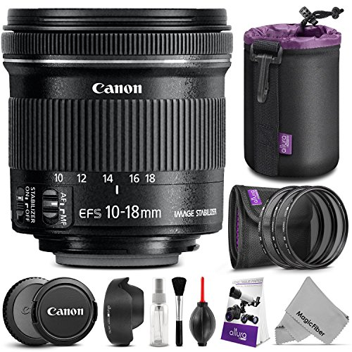 (Canon EF-S 10-18mm f/4.5-5.6 IS STM Wide Angle Lens w/ Essential Photo Bundle - Includes: Altura Photo UV-CPL-ND4, Dedicated Lens Hood, Neoprene Lens Pouch, Camera Cleaning Set)