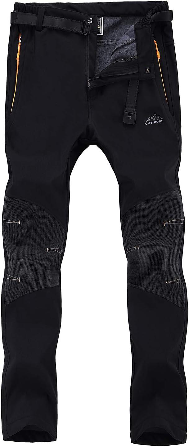 7VSTOHS Pantalones de Escalada de Senderismo para Hombre Pantalones de Invierno a Prueba de Viento Fleece Pantalones de esquí para Caminar