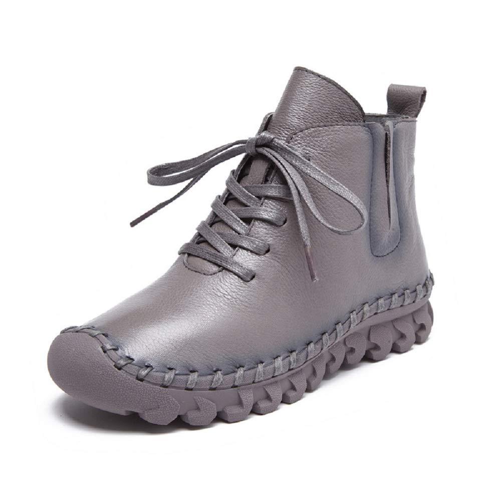 Fuxitoggo Schnüren Sich Oben Stiefel Frauen Flache Leder Ankle Low Heel Schuhe (Farbe   Grau Größe   EU 40)