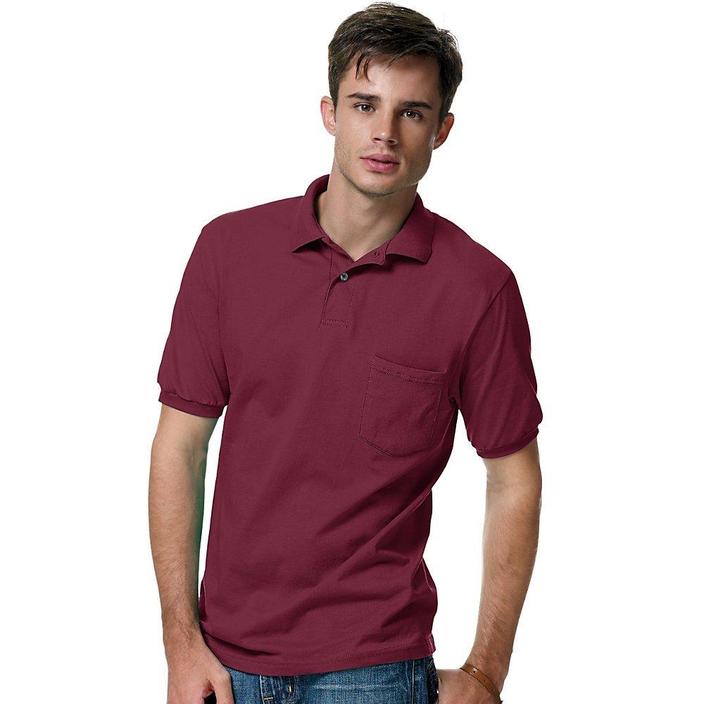 Hanes Men's Comfortblend Ecosmart Jersey Pocket Polo 0504
