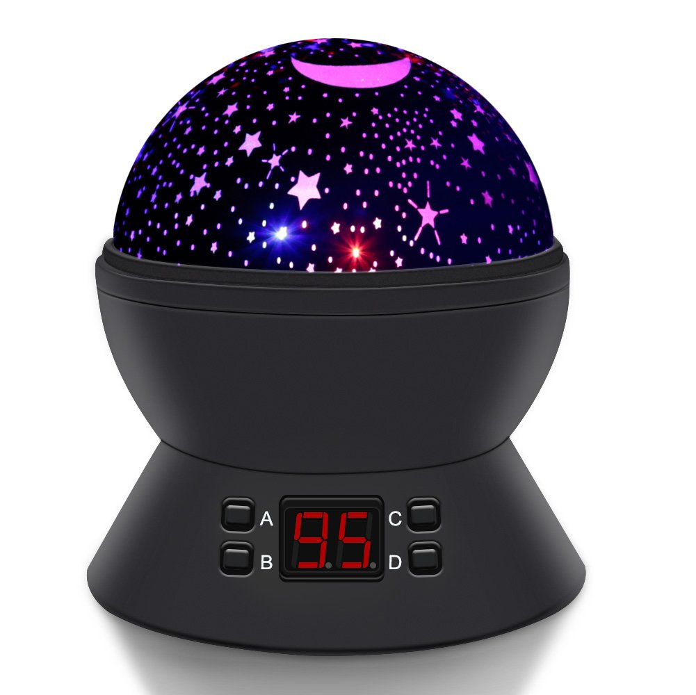 SCOPOW Constellation Night Light Star Sky with LED Timer Auto-Shut Off, 360 Degree Rotation Colorful Moon Night Lamp Gift for Baby Kid Children Bedroom Nursery Decor (Black) by SCOPOW