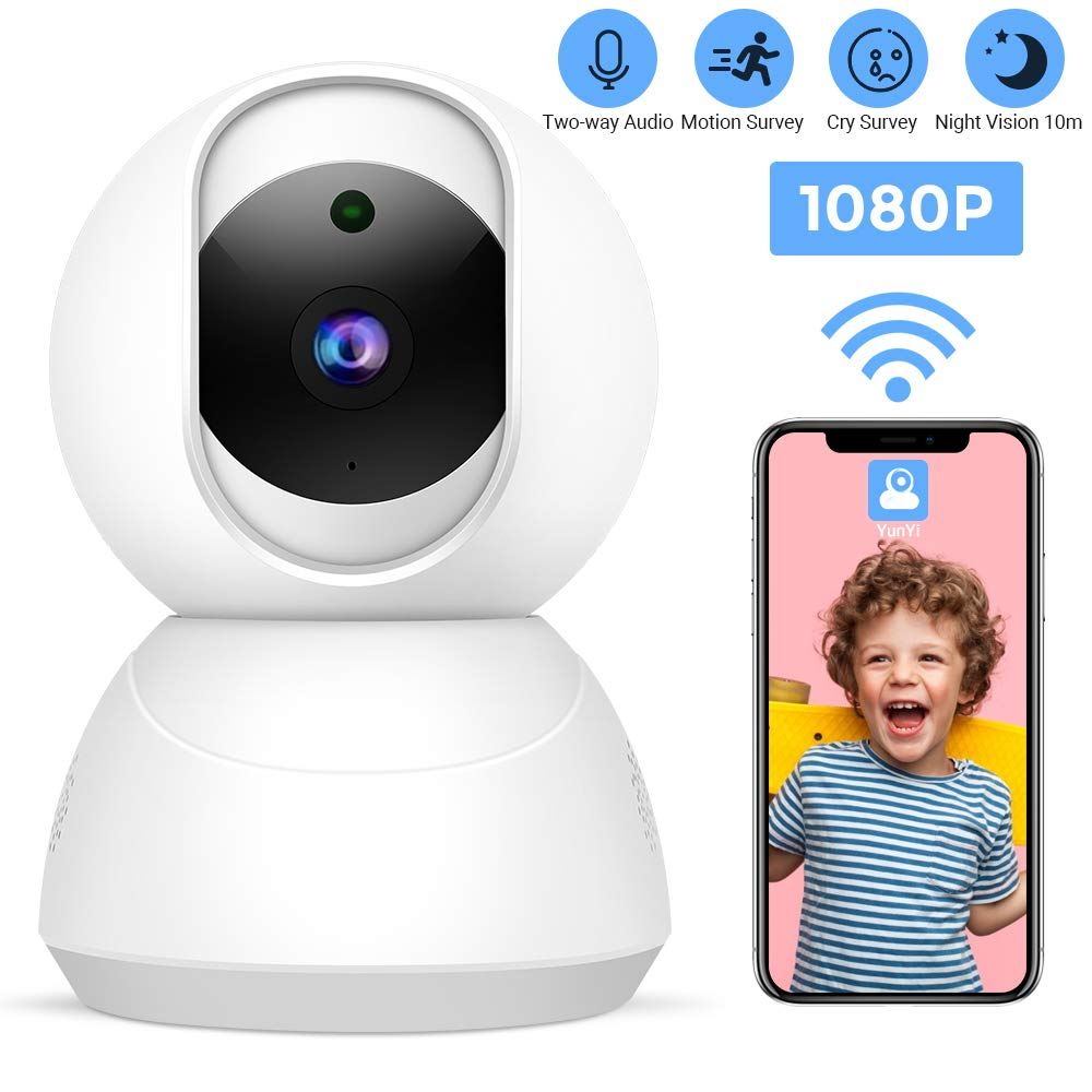 1080P WiFi Indoor Camera with Motion Detection Alarm Cry Monitoring Function Two-Way Voice Multi-User Sharing and Night Vision 10 Meters Home Security Camera with 3-Step Installation for Baby Elder