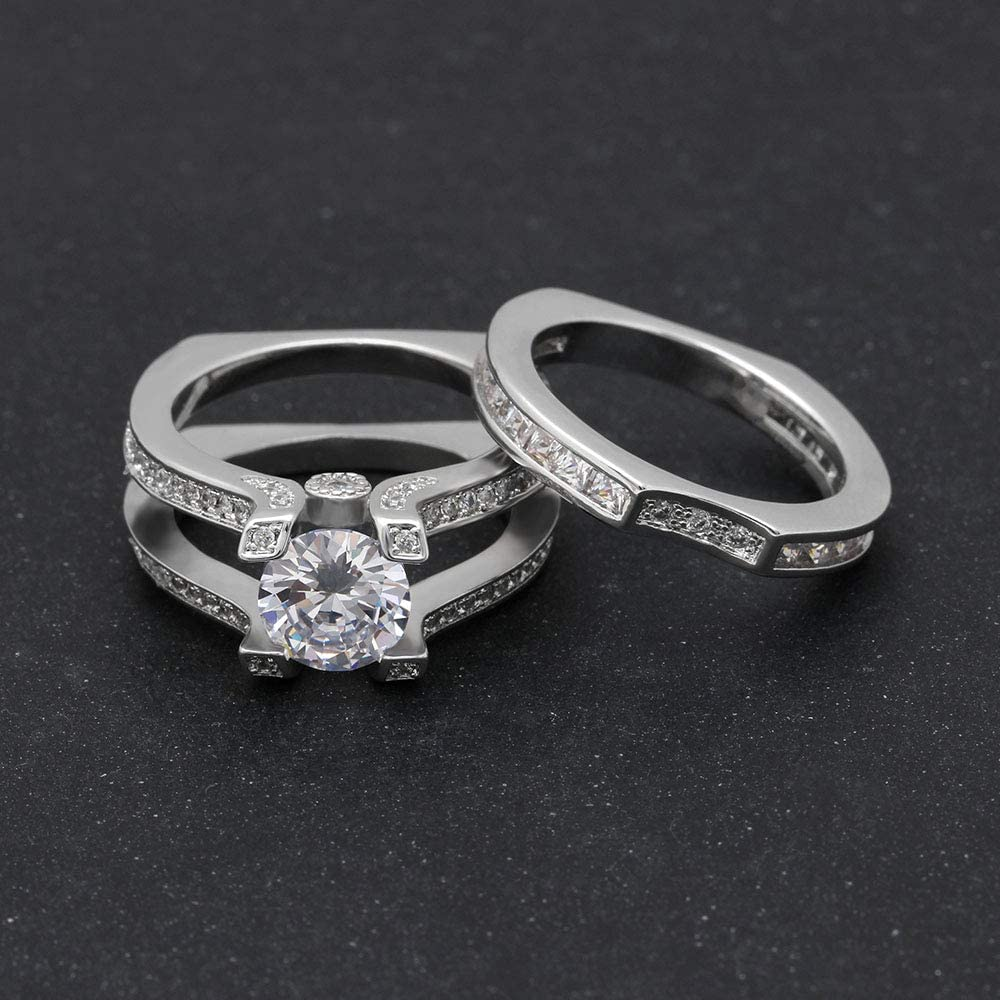 UFOORO Sky Blue Crystal Wedding Ring Set Blue Rings for Women Platinum Plated Band