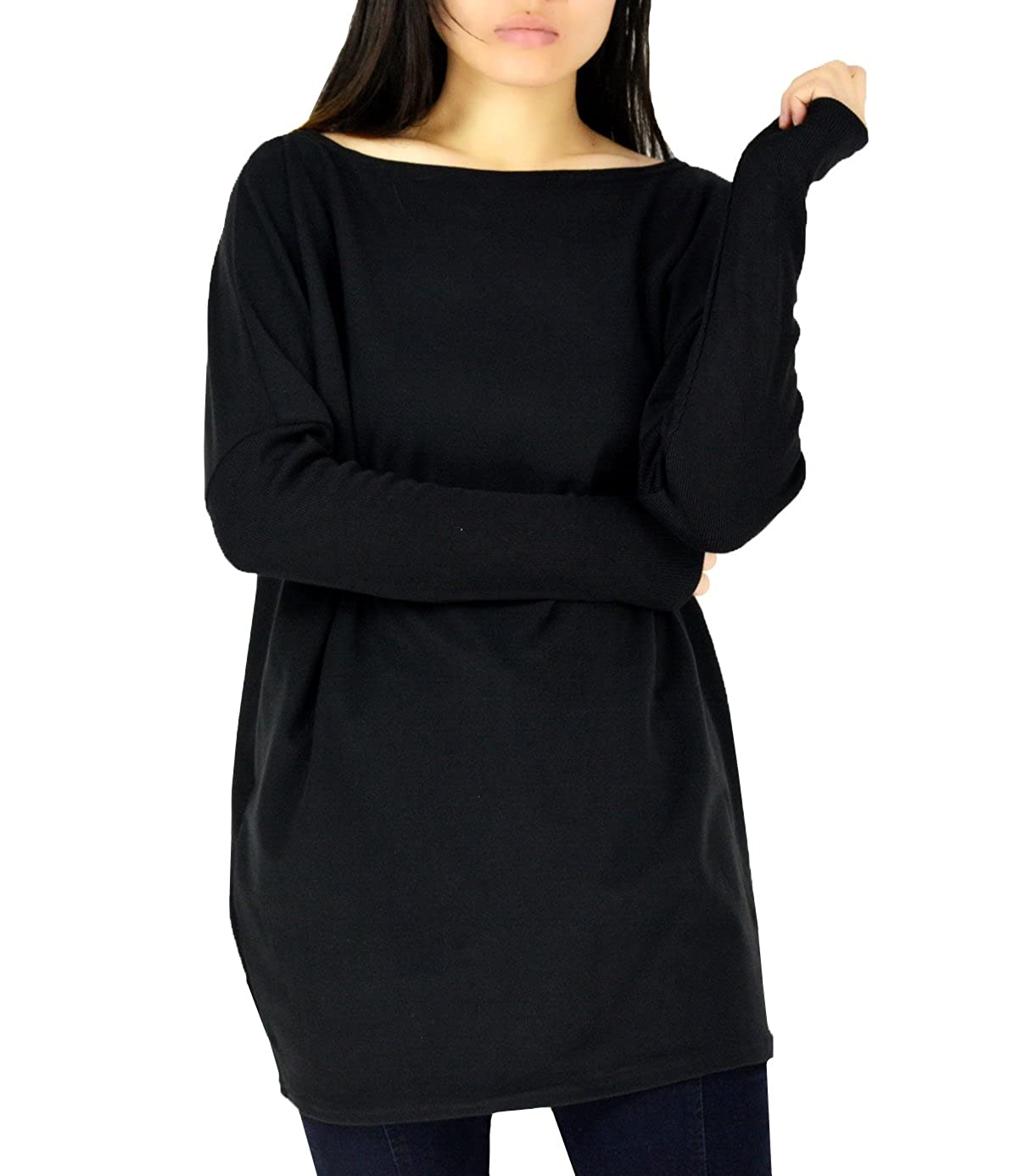 YSJERA Womens Boat Neck Pullover Dolman Sleeves Loose Solid Top Shirt Dresses
