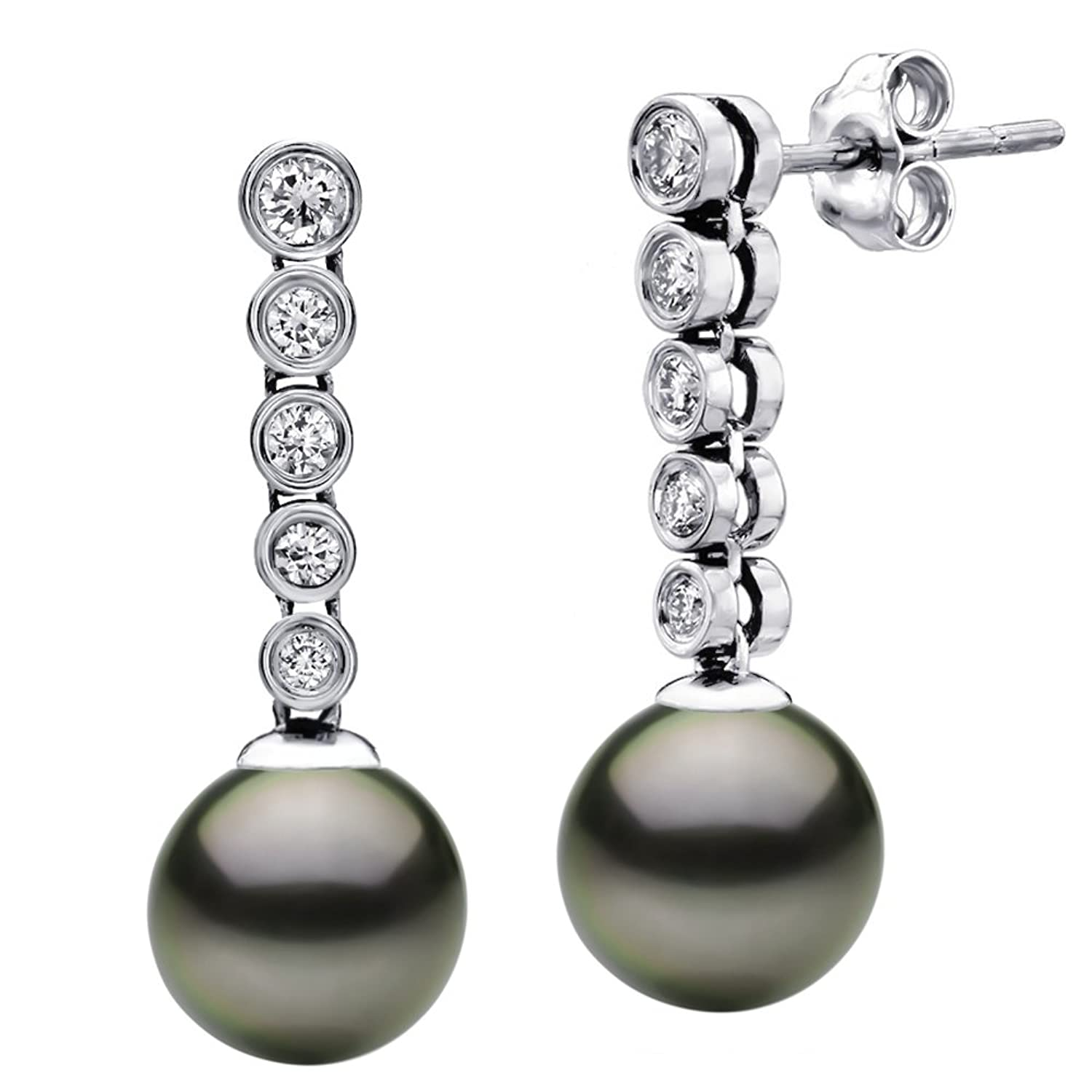 14k White Gold 4/10cttw Diamond and Round Black Tahitian Cultured AAA Pearl Stud Dangle Earrings