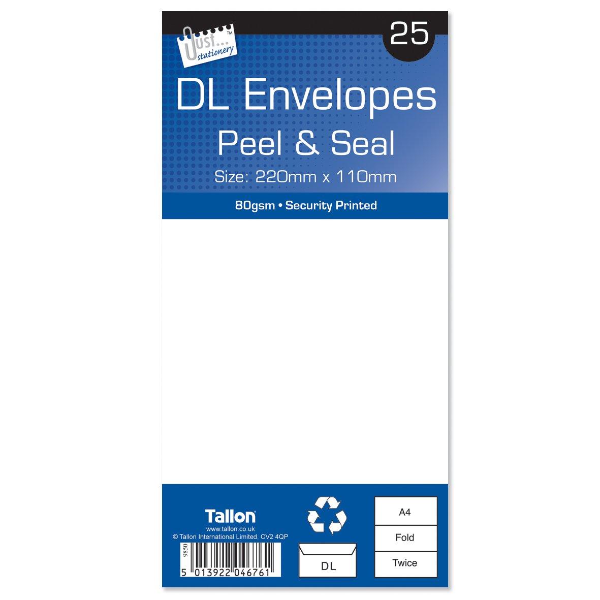 Tallon 50 x Peel /& Seal DL 80gsm Plain White Letter Envelopes 220mm x 110mm