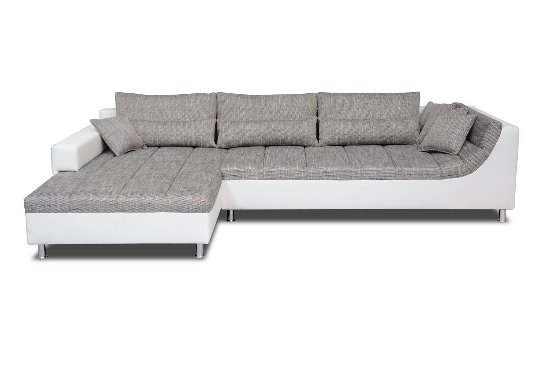 Polstermöbel Lauro mit Ottomane links in grau / weiß – Abmessungen: 310 x 204 cm (L x B)