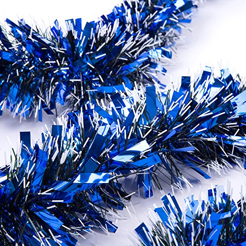 Blue Tinsel Christmas Tree - SANNO Christmas Tinsel Garland Thick and Full Tinsel Sparkly Classic Party Ornaments Hanging Xmas Christmas Tree Ceiling Decorations, 3 Pcs 6.6 Ft (2M) x 4 inch wide Each, Blue