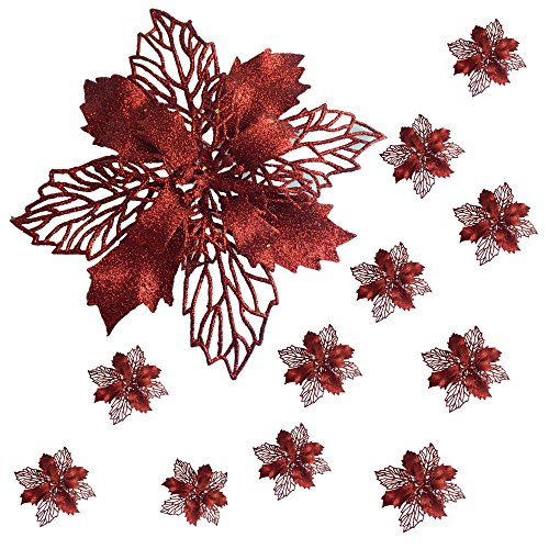 Poinsettia Clip-On Ornaments - Set of 12 Large Poinsettia Flowers with Clips - Red Floral Ornaments - 6