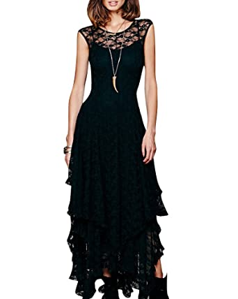 Womens Formal Evening Maxi Gown Prom Dress Long Cocktail Lace Irregular hem Occasion Dress Black S