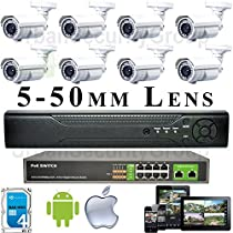 USG Sony DSP 5-50mm Lens 8 Camera Security System 1080P PoE IP CCTV Kit 1x 8 Channel NVR + 8x 1080P PoE IP Bullet Cameras + 1x Gigabit PoE Network Switch + 1x 4TB HDD Remote Phone Viewing