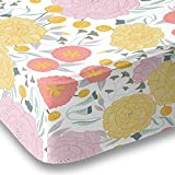 Floral on White Baby Fitted Crib Sheet Bedding, White with Coral Pink, Yellow, Seafoam Teal Flowers