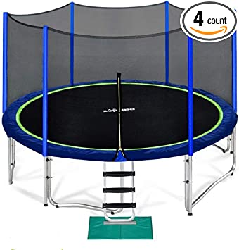 Zupapa 15 14 12 10 FT Trampoline 425LBS Weight Capacity for Kids with Safety Enclosure Net