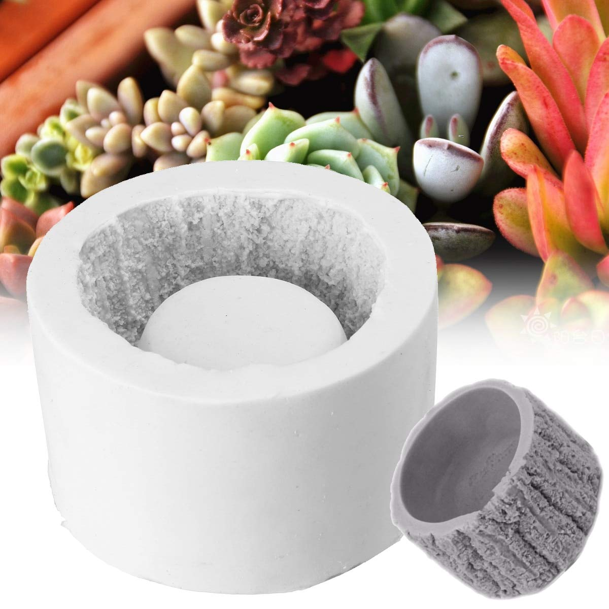 Silicone Mold Ceramic Clay Craft Casting Concrete Cup Mold Cactus Flower Pot DIY Garden Planter Random Color