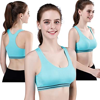 Fankle Womens Strappy Sports Bras for Women Wirefree Padded Yoga Bras High Support Tops