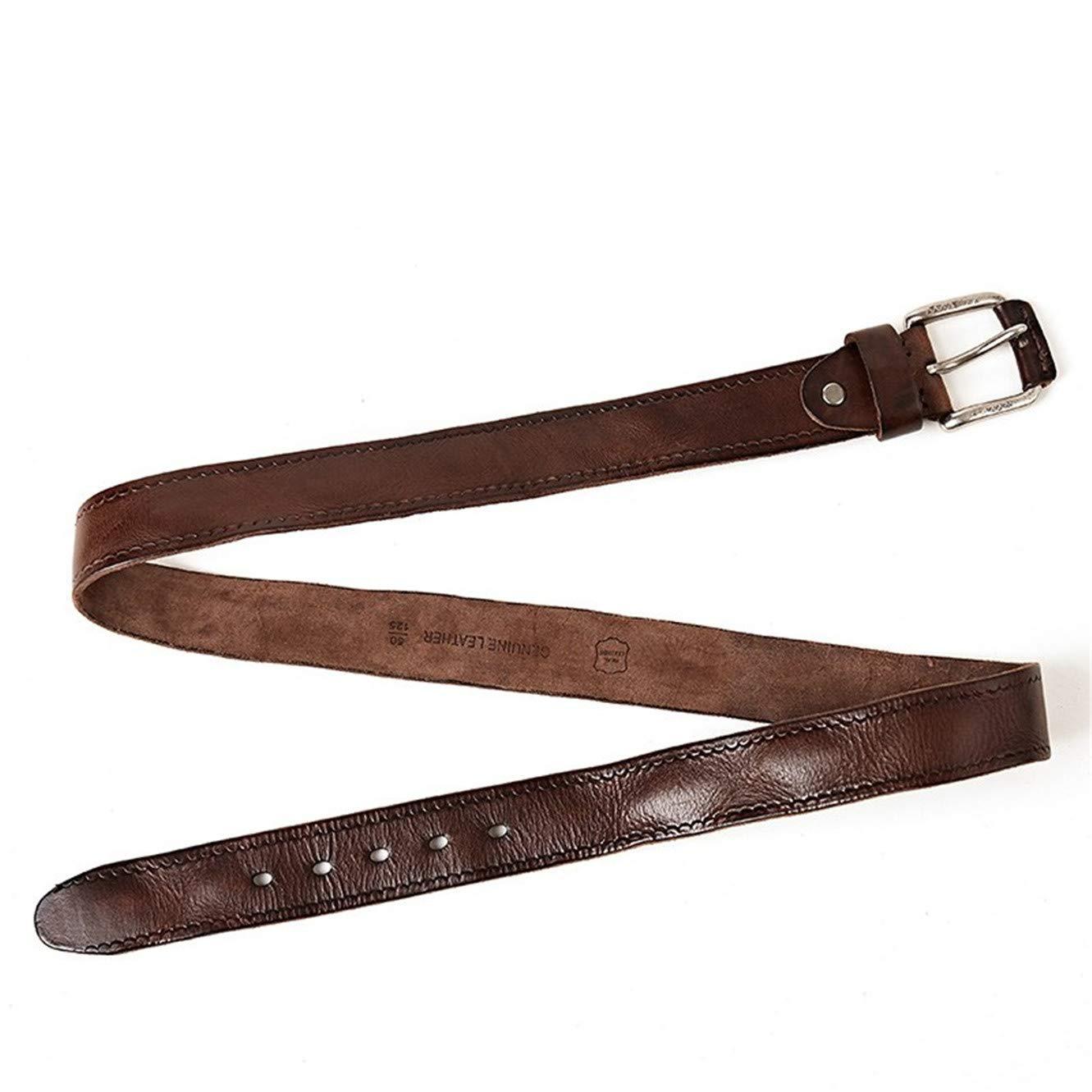 Pin buckle retro mens leather fashion belt
