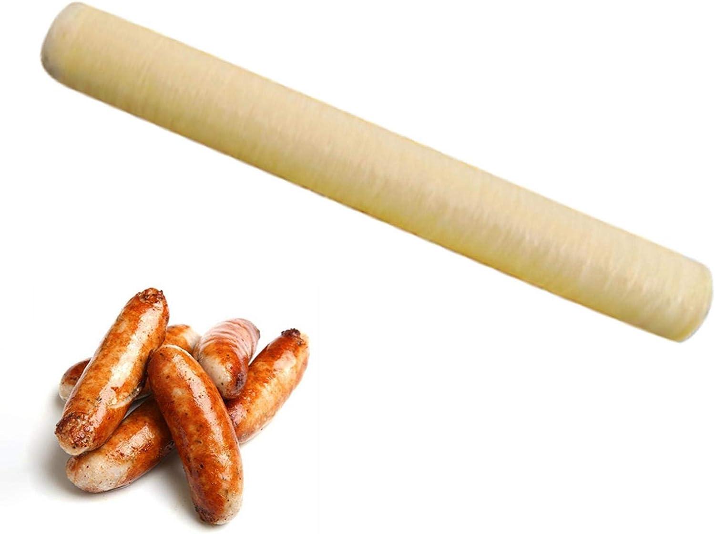 Fulstarshop Sausage Casings, Dry Meat Sausages Skins Casing 14m28mm for Home Sausage Maker Machine Natural Hot Dog Collagen Casing
