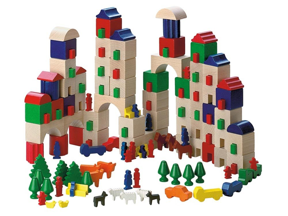 Haba Little Amsterdam 166 Piece Wooden Building Block Set (Made in Germany)
