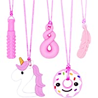 Sensory Chew Necklace for Girls, 5 PCS Silicone Chewable Necklaces for Kids with Teething, Autism, ADHD, or Special…