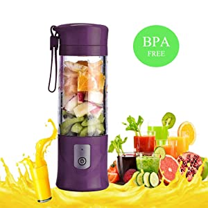 USB Portable Juicer Cup Blender, Mini Juice Mixer with Updated 6 Blades, Fruit &Baby Food Mixing Machine with Powerful Motor,13Oz (Purple)