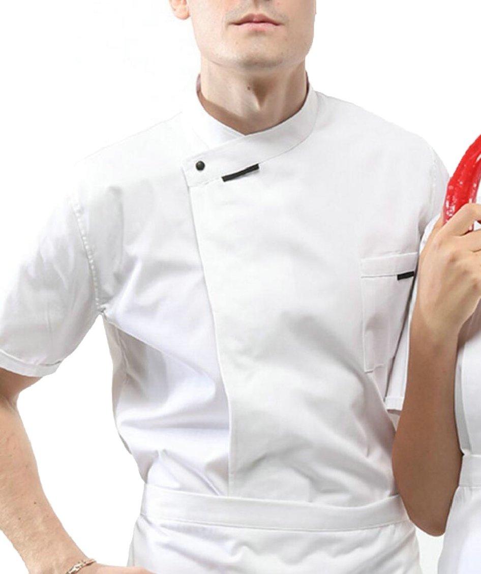 Jaycargogo Men Summer Short Sleeve Chef Jacket Kitchen Cook Coat Uniforms White XL