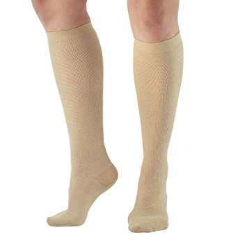 91ab5a3af Ames Walker AW Style 169 Women s Cotton Travel 15-20mmHg Moderate  Compression Knee High Socks