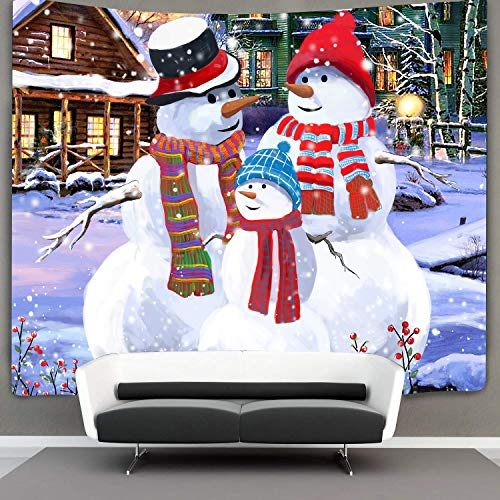 Tom Boy Christmas Snowman Family Tapestry Wall Hanging Small White Wall Tapestry Hippie Tapestries for Bedroom Living Room Dorm (Tapestry Wall Snowman)