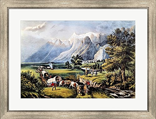 - The Rocky Mountains by Currier and Ives Framed Art Print Wall Picture, Silver Scoop Frame, 31 x 24 inches